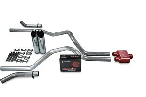Dodge Ram 1500 04 08 2 5 Dual Exhaust Kits Cherry Bomb Extreme Slash Tip Corner