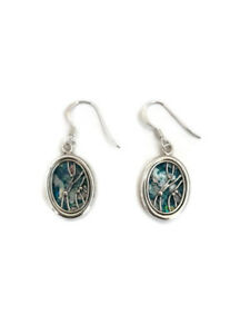 Roman Glass Antique Ancient Sterling Silver 925 Oval Earrings Jewelry Holy Land