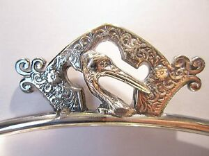 Antique Silver Quadruple Plate Bride S Basket Figural Stork Victorian 1800s