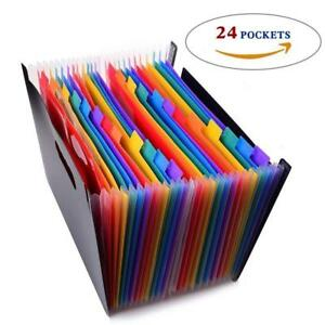 Expanding Files Folders Organizer Colorful Tabs 24 Pockets Document Filing Cases