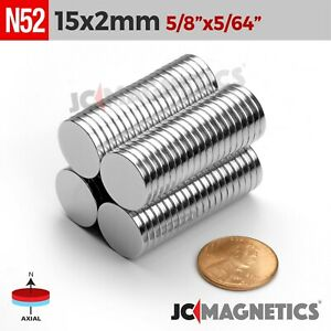 12 100 500pc 15mm X 2mm 5 8 X 5 64 N52 Strong Rare Earth Neodymium Magnet Disc