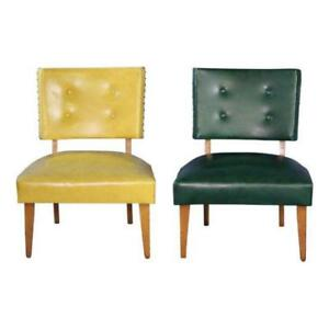 1950 Pair Two 2 Mid Century Maple Lounge Chairs Library Vintage Settee Sofa