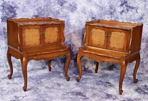 Pair 2 French Mahogany Commodes End Tables Nightstands Cane Side Mid Century