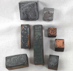 Vintage Letterpress Printers Block Lot Metal On Wood Figural Print Stamp Flag St