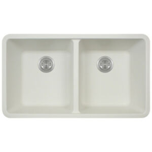 Polaris Sinks White Undermount Double Bowl Sink
