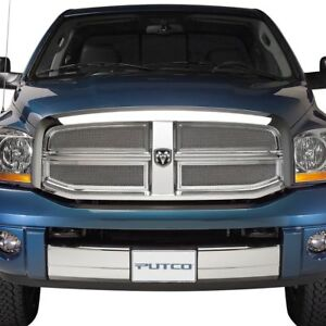 For Dodge Ram 1500 2002 2005 Putco 4 Pc Liquid Series Chrome Mesh Main Grille