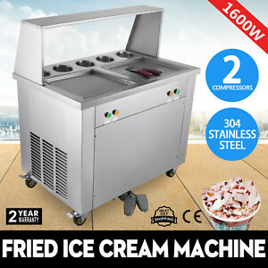 Happybuy Fried Ice Cream Machine 1600w Fried Yogurt Maker W 2 Pans 5 Buckets