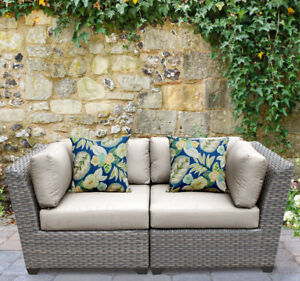 Tk Classics Florence Patio Sofa With Cushions Beige