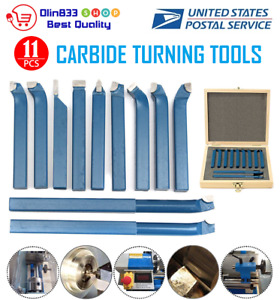 11pc 10mm Carbide Tip Tipped Cutter Tool Bit Cutting Set For Metal Lathe Tooling