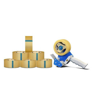 6 Rls Package Shipping Box Packing Tape With Dispenser 2 inch X 110 Yards Clear