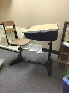 Vintage 1930s Child S School Desk Chair Wood And Metal American Seating Co