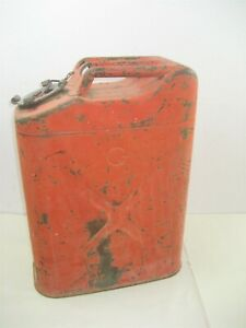 Vintage Rustic Red Galvanized 5 Gallon Military Gasoline Can Made In Usa
