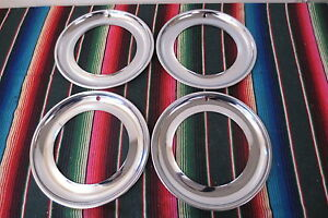 Nos 16 Chrome Beauty Trim Rings Hubcaps 1940 s 1950 s Gm Ford Mopar Accessory