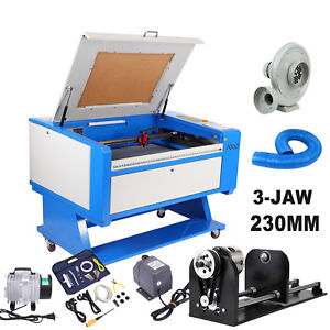 60w Co2 Usb Laser Engraving cutting Machine 700x500mm Cutter 3 Jaw Rotary Axis