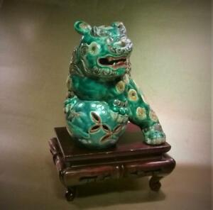 Fabulous Antique Kutani Porcelain Green Shi Shi Fu Dog Lion Okimono