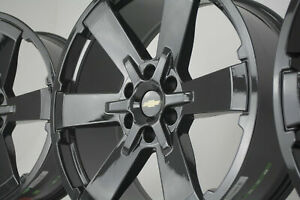 Black Chevy Silverado Wheels Rims 5662 Ck162 Tahoe 22 Gloss Rally Midnight New