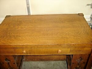 Antique Quarter Sawn Oak Arts Crafts Library Table W Open Shelves 098
