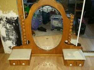 Drop Center Marble Topped Mirror Dresser Dressing Table Vanity