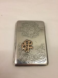 Russian Gold Mounted Silver Cigarette Case