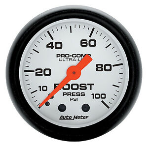 Auto Meter Phantom Mechanical Turbo Boost Gauge 2 1 16 0 100 Psi 52mm