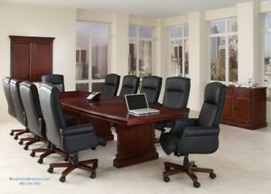 12 Foot Traditional Cherry And Walnut Wood Conference Table With Grommets