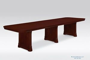 12 Foot Traditional Cherry Wood Conference Table With Grommets 44 Inches Wide