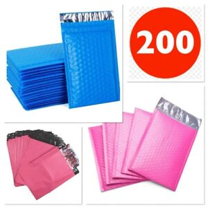 Pack Of 200 4x8 Padded Envelopes Bubble Pink Blue Self Seal 9x12 Poly Bags