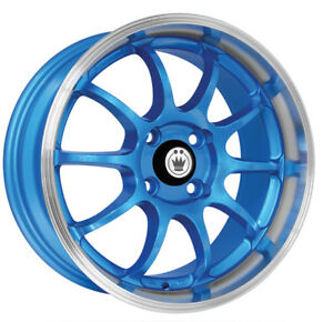 4 new 15 Inch Konig 26bl Lightning 15x7 4x100 38mm Blue Wheels Rims