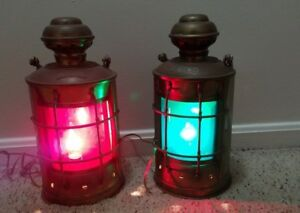 Set Of Port And Syarboard Antique Nautical Splid Brass Electric Lanterns