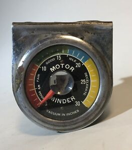 Vintage Stewart Warner Curved Glass Motor Minder Vacuum Gauge Rat Rod Dash