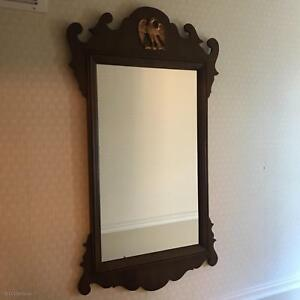 Vintage Ethan Allen Chippendale Federal Solid Walnut Mirror W Brass Eagle Emblem