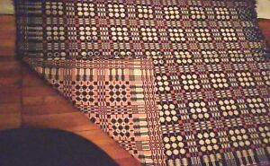 Antique Woven Coverlet Red And Blue Reversible 80 X 68 Overshot 1840 S