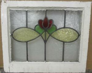 Old English Leaded Stained Glass Window Stunning Floral Design 20 X 17