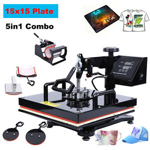 5in1 Digital Heat Press Sublimation Machinefor T shirts Hat Cup Plate 15 x15