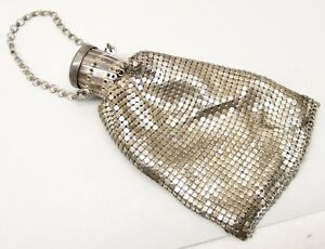 Antique Sterling Silver Mesh Coin Purse Chain Chatelaine Expandable Gate Top