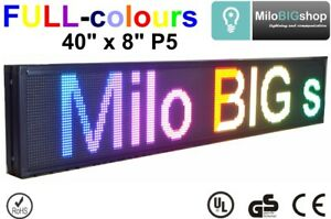 Led Scrolling Sign P5 Rgb Full Color Programmable Message Display 40 X 8 New