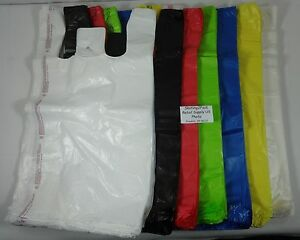 Qty 500 Plastic T shirt Bags Retail Handles 11 5 X 6 X 21 Variety Of Colors