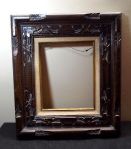 Vtg Mcm Hand Carved Wooden Picture Frame 18x16 9 5x7 5 Mexican Rustic Folk Art