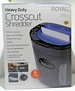 Pre Royal 12 Sheet Cross Cut Paper Shredder 1216x Heavy Duty Ultra Quiet