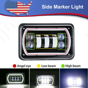4x6 Led Headlights High low Beam With Drl Lamp Light For Kenworth Peterbilt Suv