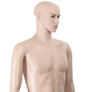 Male Mannequin 6 Ft With Makeup Face Metal Base Pvc Realistic Fashion Display