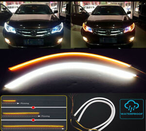 Us 24 Led Car Drl Day Running Turn Signal Light Flexible Strip Lamp Yellow
