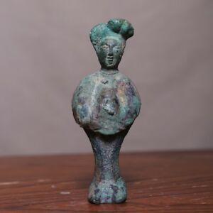 Real Confirmed Chinese Tang Dynasty Antique Bronze Old Statue Beauty Figure Hb70