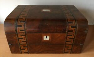 Antique Burlwood Mother Of Pearl W Inlay Lap Travel Writing Desk