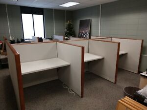 11 Piece 6 Desk Kimball Modular Office Cubicle Wall Partition System 44 Feet