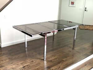 Mid Century Modern Milo Baughman Chrome Dining Table