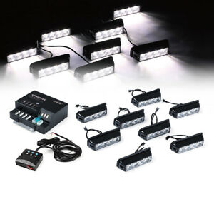 32 Led Emergency Side Marker Flash Strobe Lights For Dash Deck Grille Car white