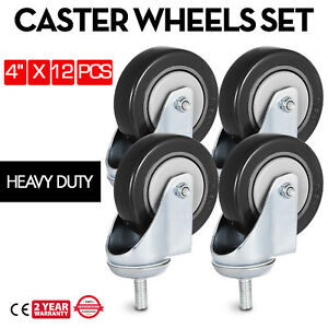 12 Pack 4 Inch Stem Casters Wheels Warehouse Carts Durable Platform Trucks