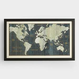 Large Old World Wall Map Matted Framed Glass Vintage 18th Century Replica