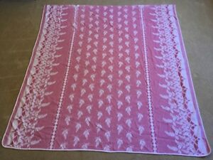 Vtg Red White Woven Bedspread Old Warm Coverlet 90x83 Grapes Pink Full Blanket